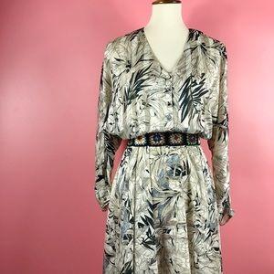 Vtg 80s RARE Floral Print Aline Midi Dress M